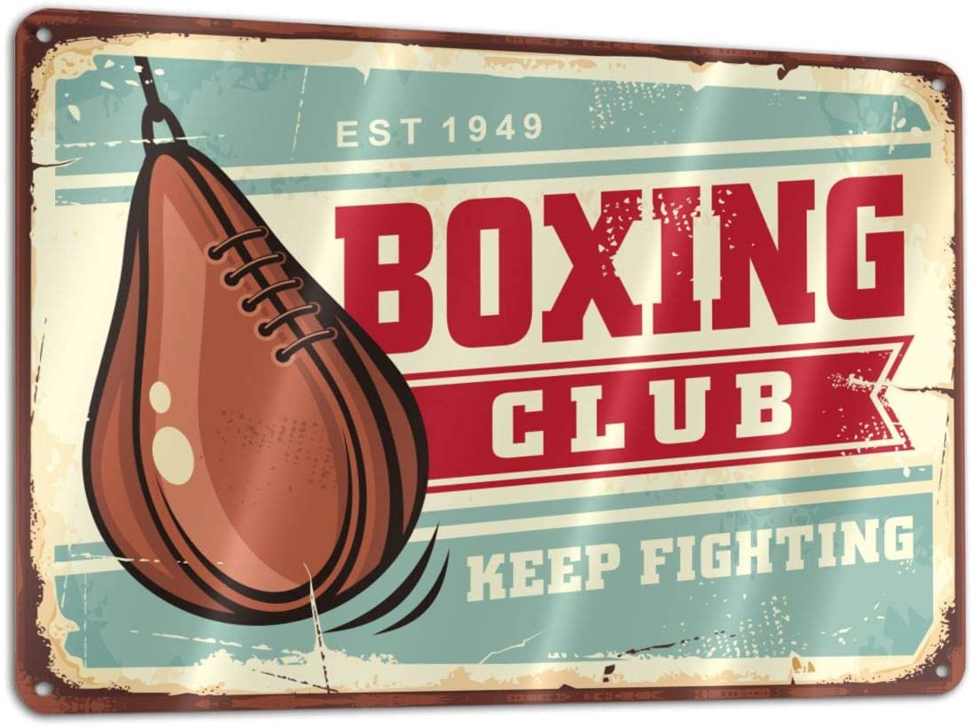 Boxing Speed Ball On Old Tin Sign Funny Sign Tin Art Wall Decor, Vintage Aluminum Retro Metal Sign, Iron Painting Vintage Decorative Signs, Coffe Wall Decoration