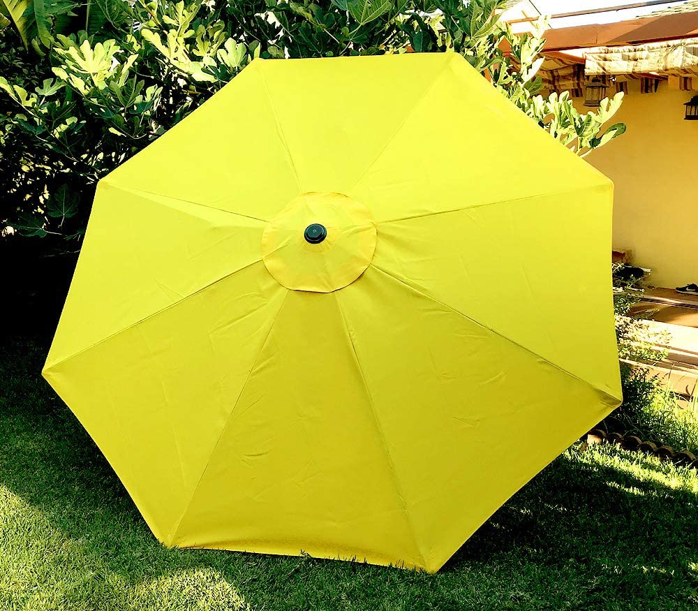 BELLRINO DECOR Replacement YELLOW STRONG AND THICK Umbrella Canopy for 9ft 8 Ribs YELLOW (Canopy Only)