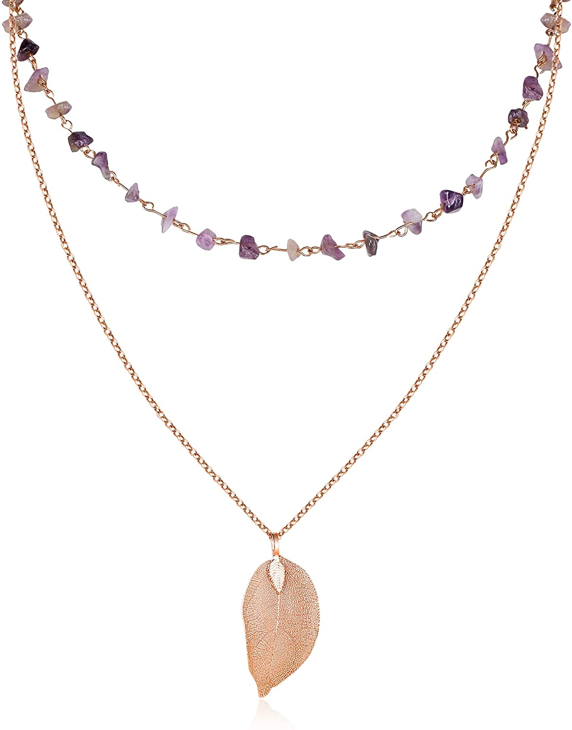 Golden Leaf and Crystal Choker Layered Necklace, Fashion Jewelry for Women