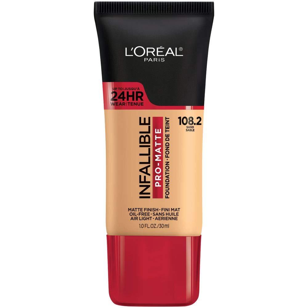 L'Oreal Paris Makeup Infallible Pro-matte Foundation, Up To 24 Hr Demi Matte Finish, Medium Coverage Liquid Longwear Foundation, Lasts All Day, Air-light & Oil-free, Sand, 1 Fl Oz