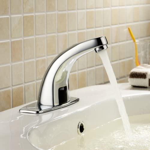 Deck Mount Solid Brass Auto Sensor Bathroom Sink Faucet with Automatic Sensor Chrome Bath Tub Faucet Unique Designer Vanity Plumbing Fixtures Roman Tub Faucets Lavatory Glacier Bay Faucets