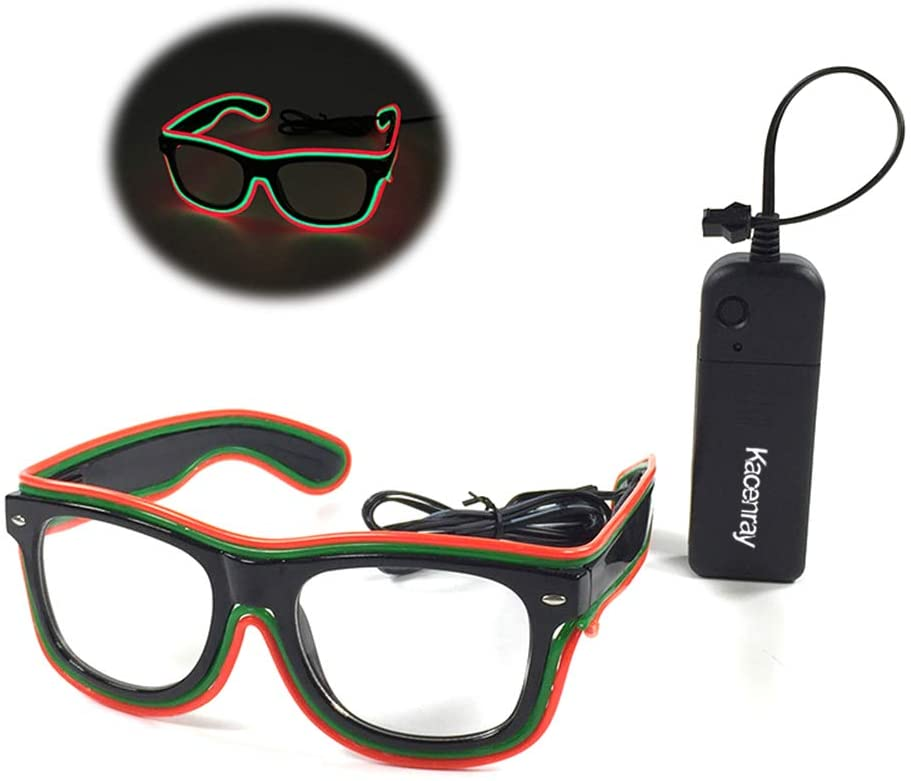 LED Glasses Adjustable Neon Light Up Glasses, Party Favors LED Sunglasses Glowing Luminous Eyewear (Black Frame + Clear Lenses) (Red+Green)