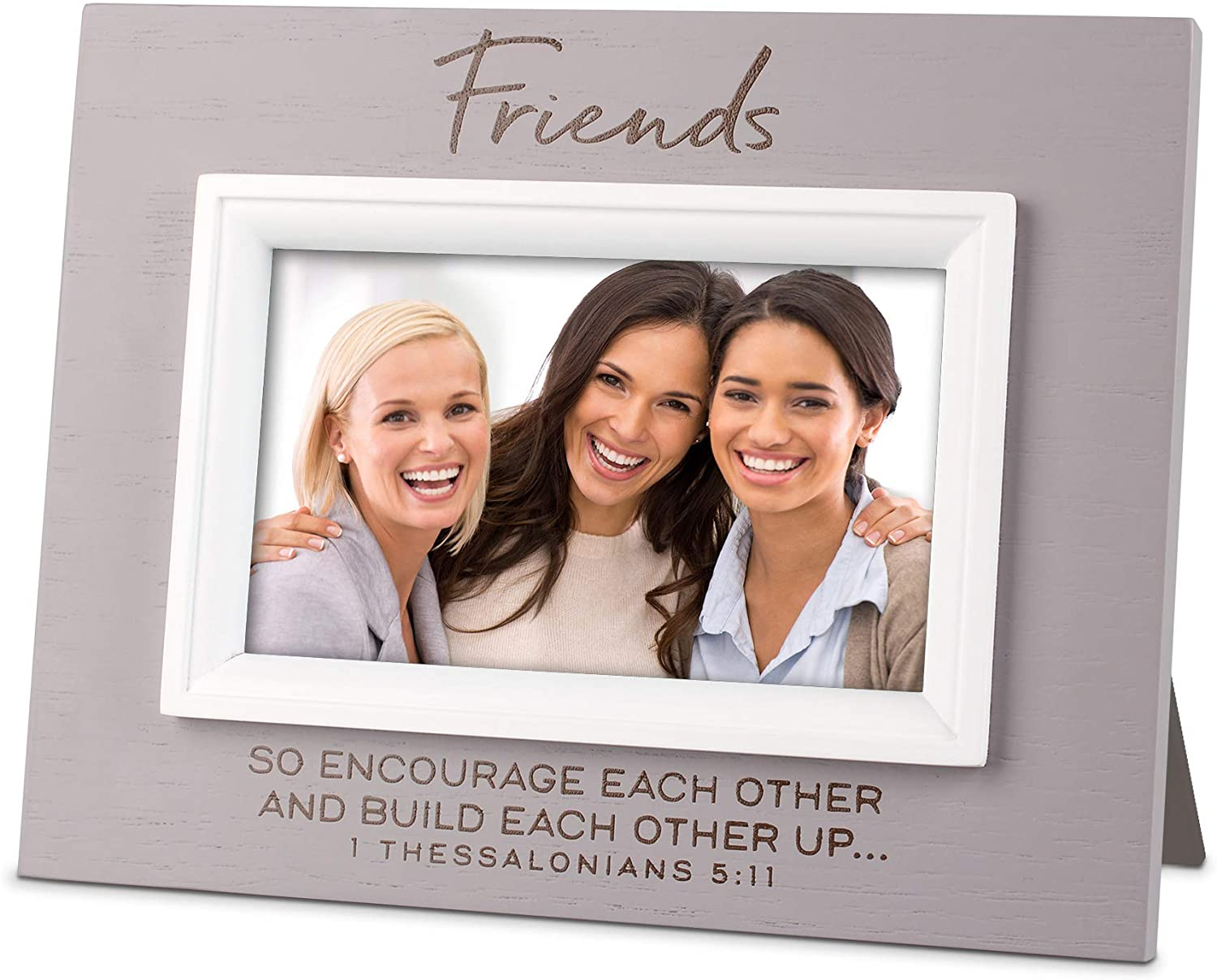 Lighthouse Christian Products Friends Encourage Build Up Nobel Grey 8 x 6.25 Wood Photo Frame