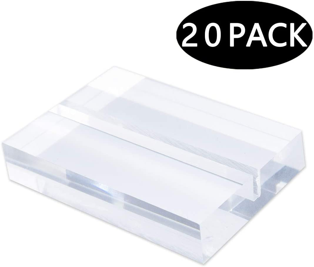 Clear Acrylic Sign Holders, Wedding Table Sign Stands, Number Display (20 Pack)