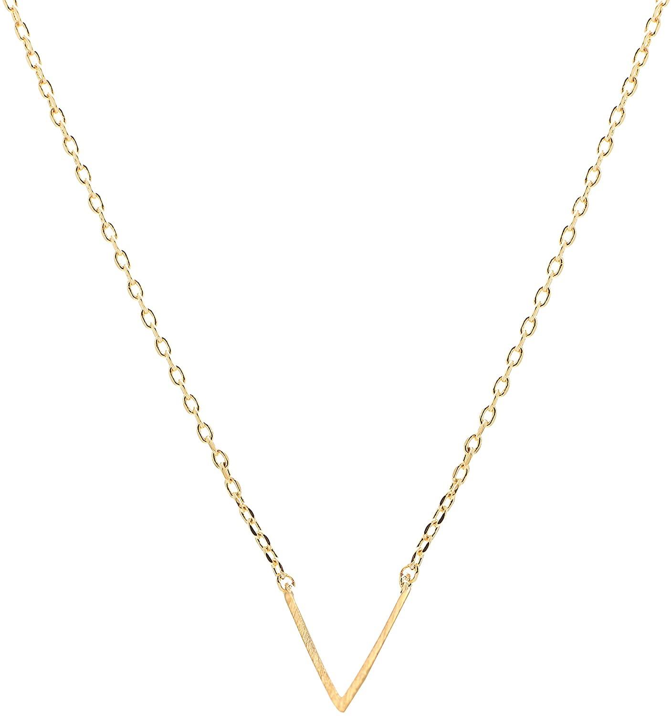 chelseachicNYC Handmade Brush Metal Chevron V Necklace
