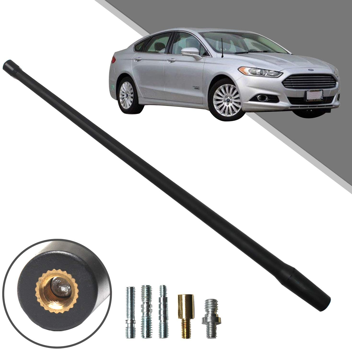 Beneges 13 Inch Flexible Rubber Replacement Antenna Compatible with 2005-2019 Ford Fusion, Optimized FM/AM Reception.