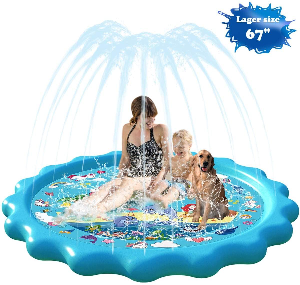 Homydom Sprinkler for Kids, Splash Pad for Toddlers Outdoor Inflatable Sprinkler Water Toys for Kids Unicorn