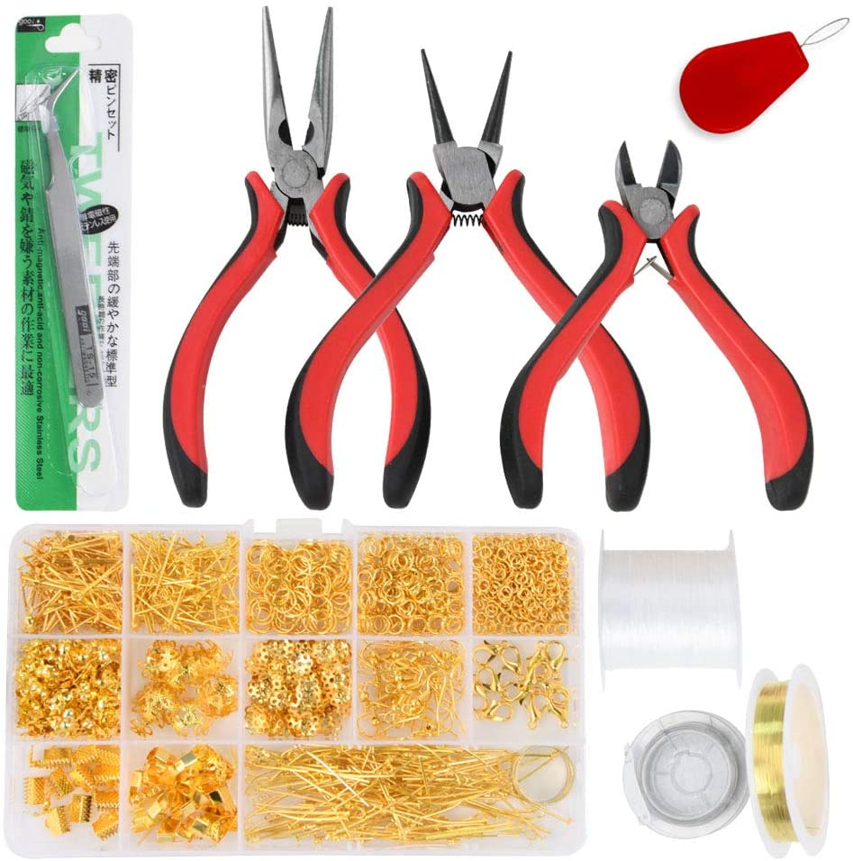 SUMEI Jewelry Making Supplies Kit for Adults, Jewelry Repair Pliers Tools, Jewelry DIY Supplies (Golden)…