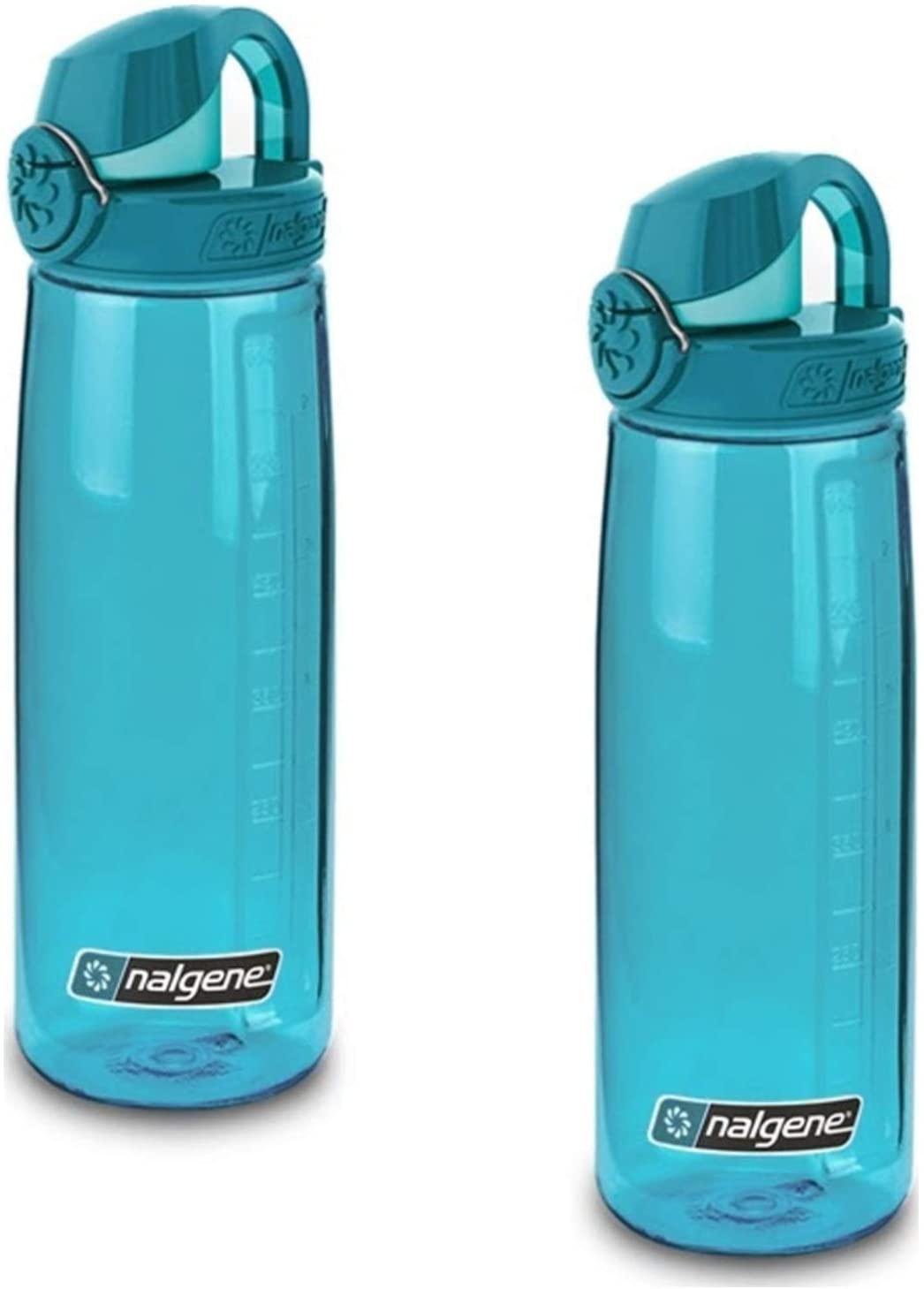 Nalgene On The Fly 24 oz Water Bottle Blue w/Glacial Blue Cap - 2 Pack