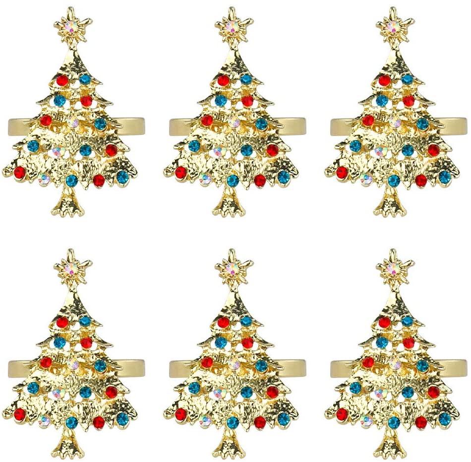 Frjjthchy Christmas Napkin Rings Set of 6 Reusable Napkin Holder for Gift Wedding Holiday Party Dinner Table Decor (Gold Christmas Tree)