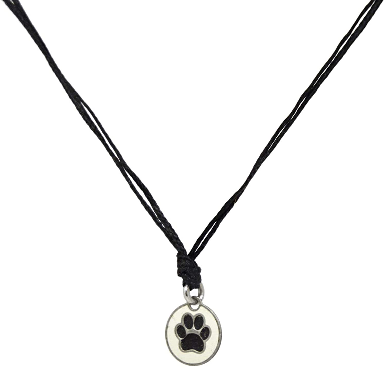 Black Choker Necklace with Stainless Steel Pet Lover Charm Necklace on Double Black Strand for Women - Light, Elegant, Hypoallergenic Jewelry