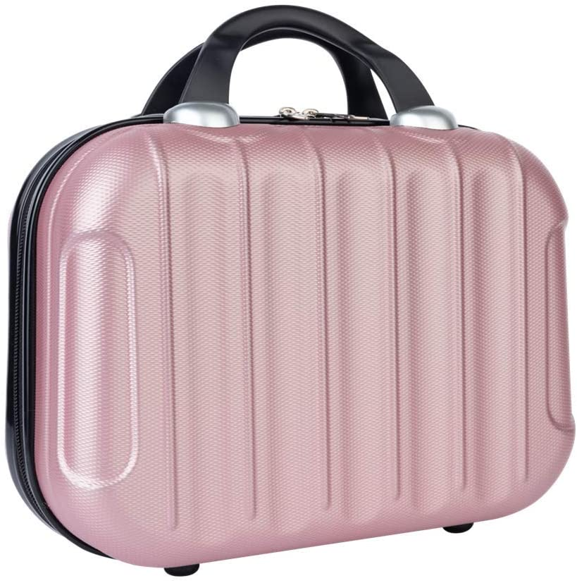 Hanwoit Hard Shell Cosmetic Case (Rose Gold,Non-deformable Material), Portable Makeup Carrying Case Great for Travel. Mini Suitcase That Can Store Toiletries & Can Be Fixed On A Trolley Case.