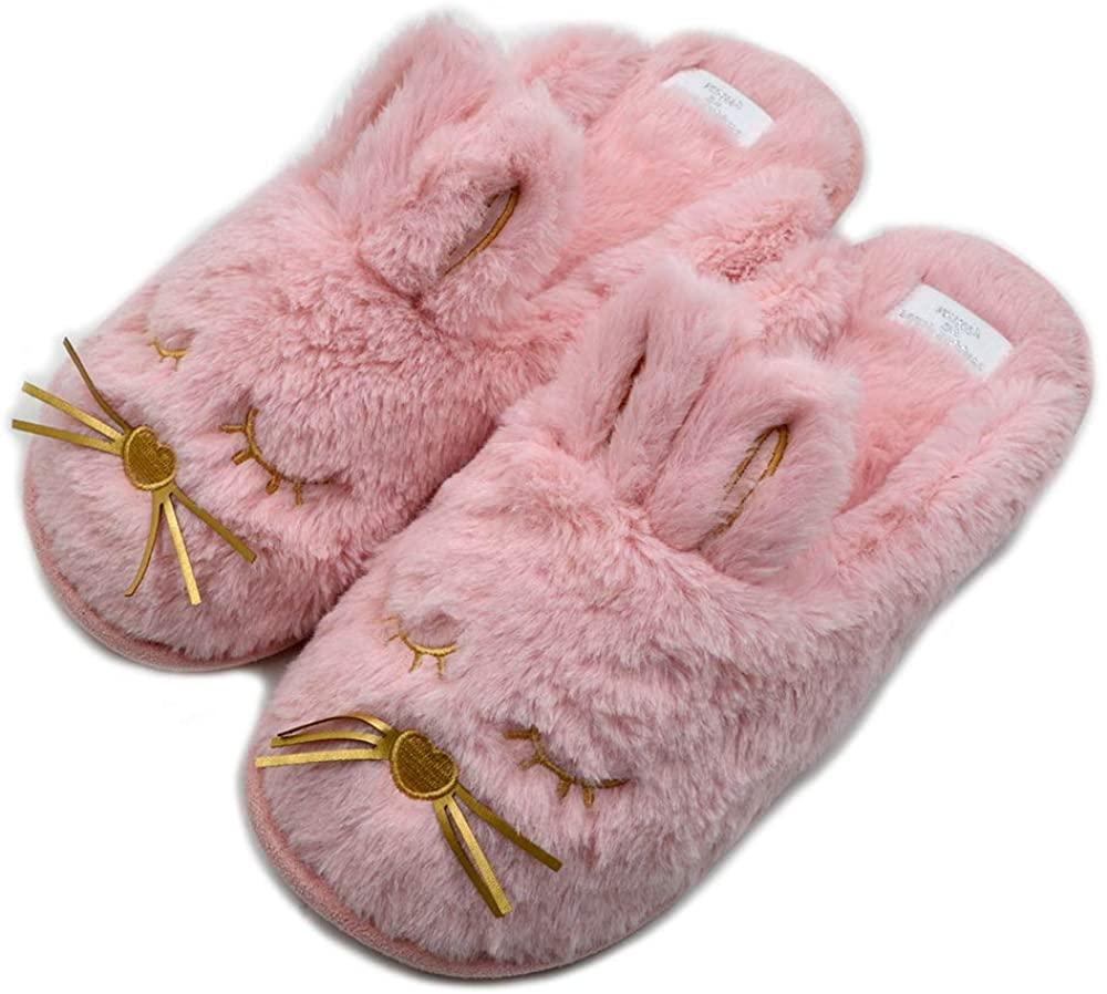 Cute Bunny Fuzzy Slippers |Warm Animal Memory Foam Rabbit Plush |Women Indoor Outdoor Bedroom Slippers