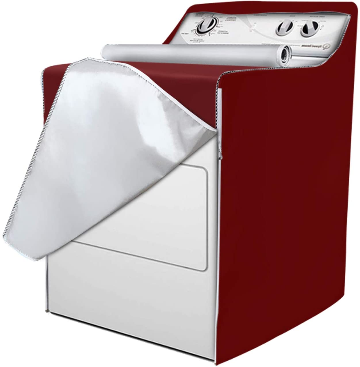 Washing Machine Covers Protector,Washer & Dryer Cover Waterproof with Zipper for Front-Loading Machine and Dry Machine(Red wine,W29D28H40in)
