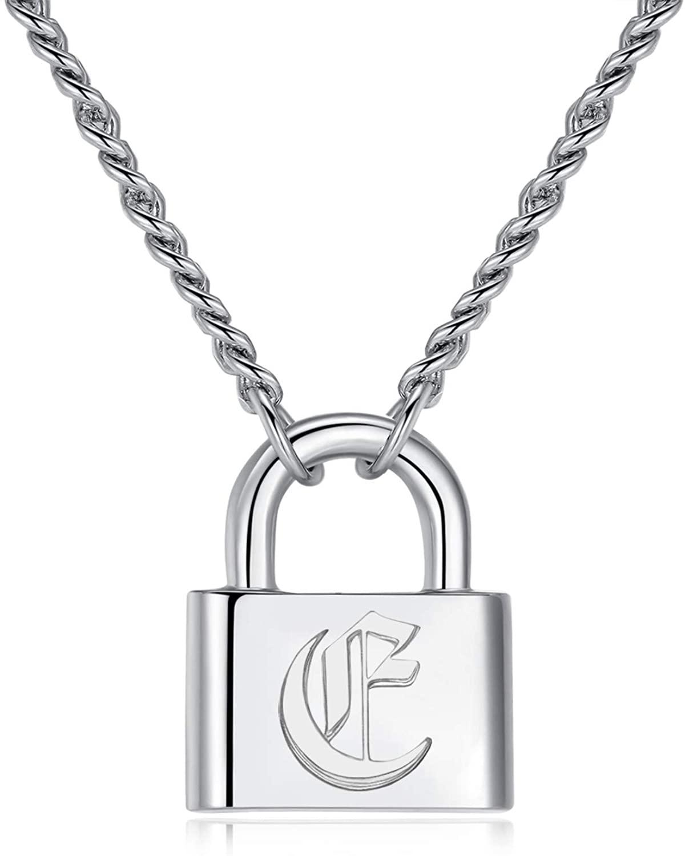 Joeyan Lock Initial Necklace Letter Pendant Necklace Men Women Silver Chain Personalized 26 Alphabet A-Z Necklace