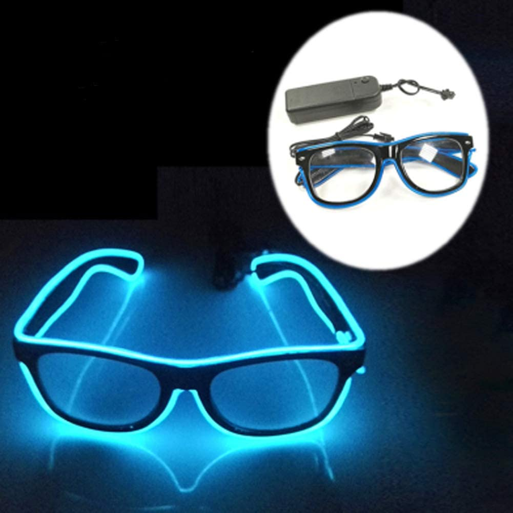 San Jison Fashionable Glow Eye Glasses with Battery Control Light Up El Wire LED Flashing Glasses for Festivals, Halloween Christmas Birthday Party Favor (Blue)