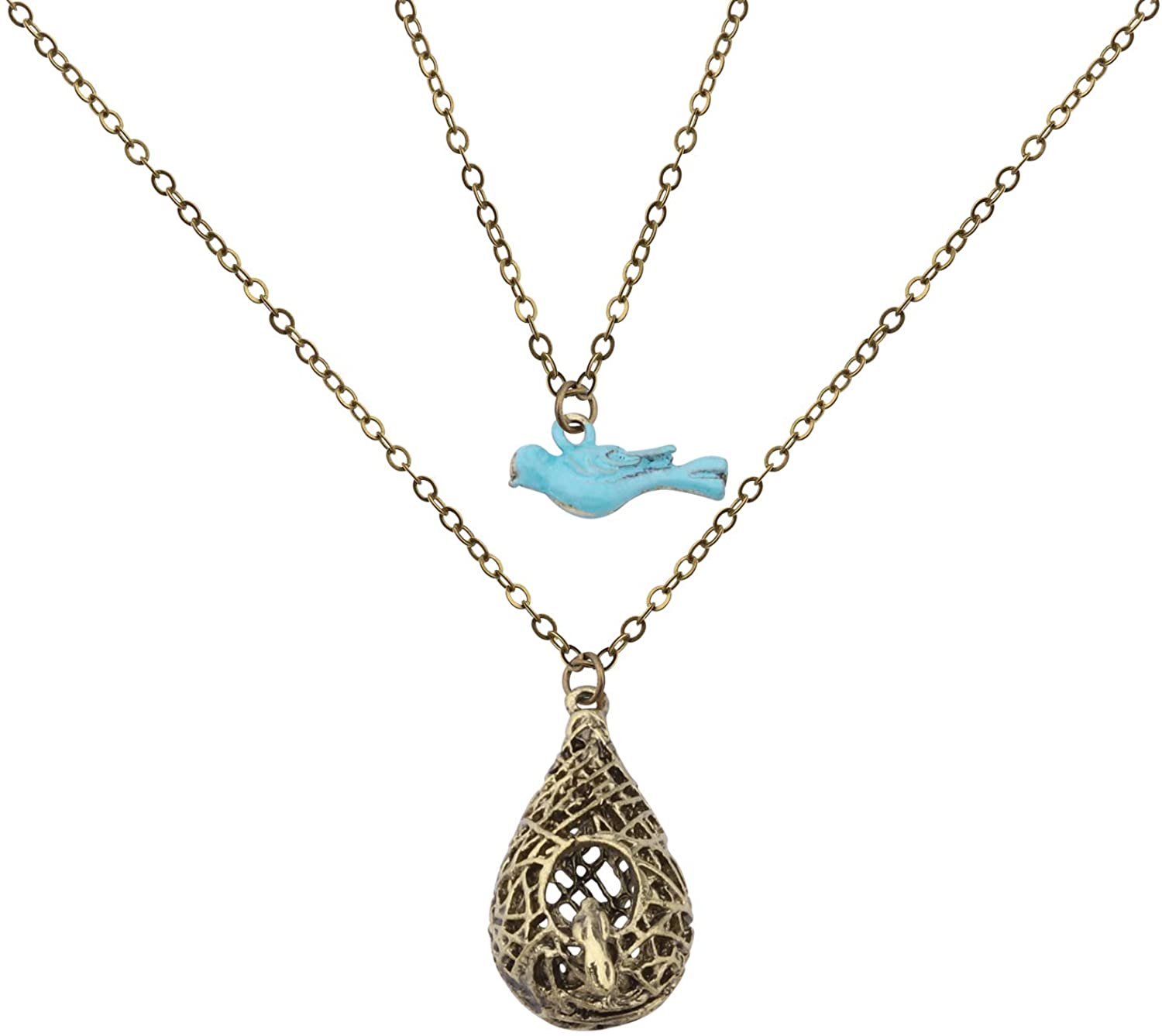 CENWA The Vampire Diaries Elena Inspired Necklace Double Layer Birds Nest Pendant Necklace