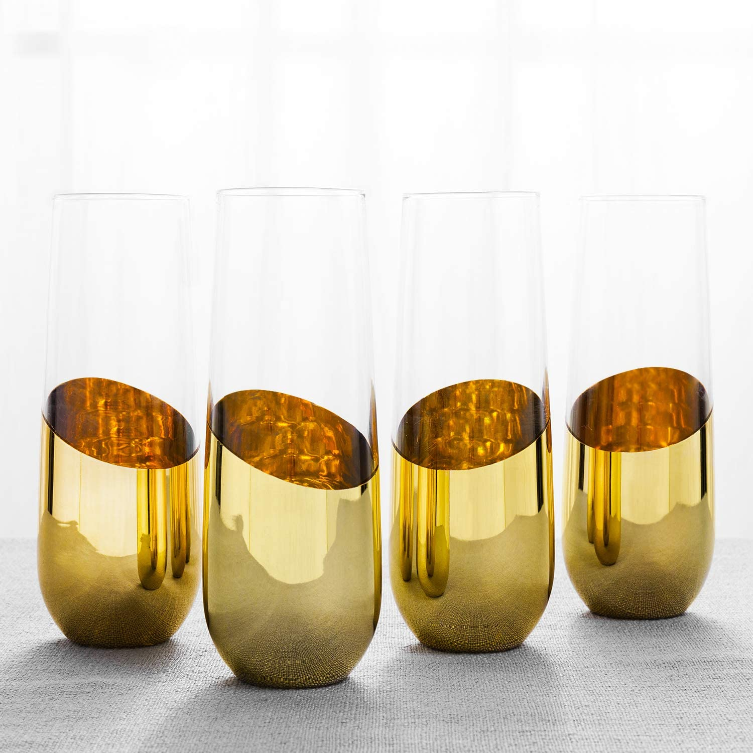 MyGift 10 oz Modern Brass-Plated Sparkling Wine Glass/Stemless Champagne Flutes, Set of 4