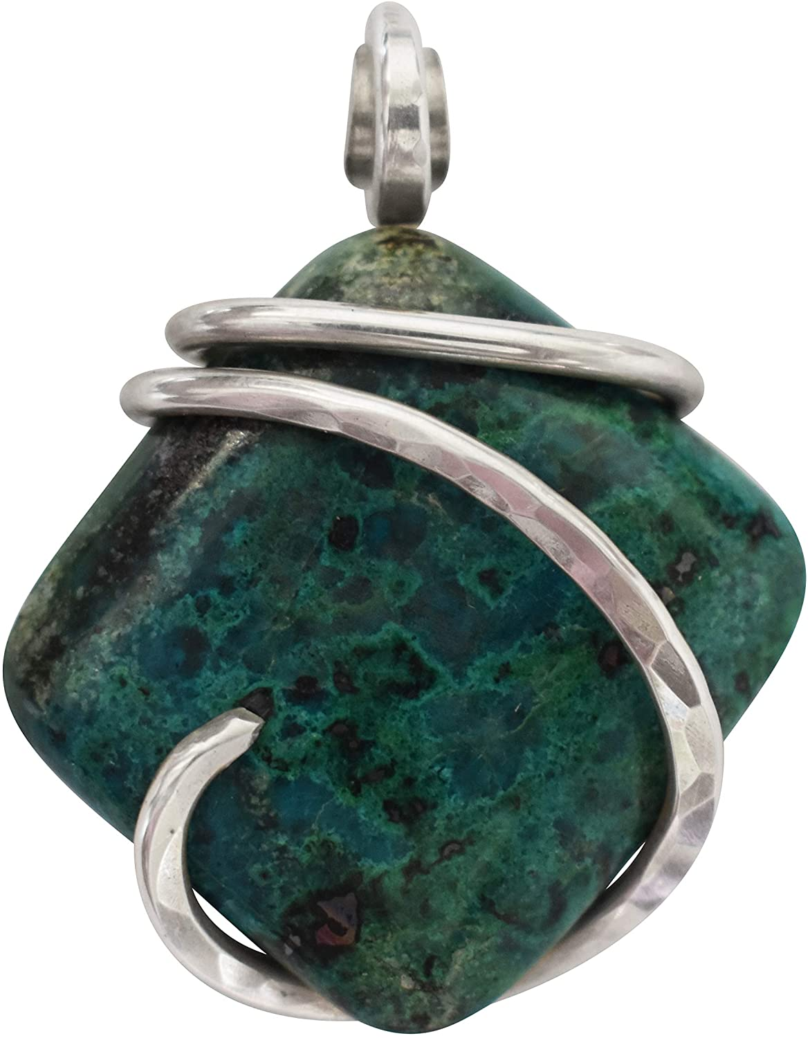 Chrysocolla Stone Pendant Hand Wrapped in Silver by Isabella Roth