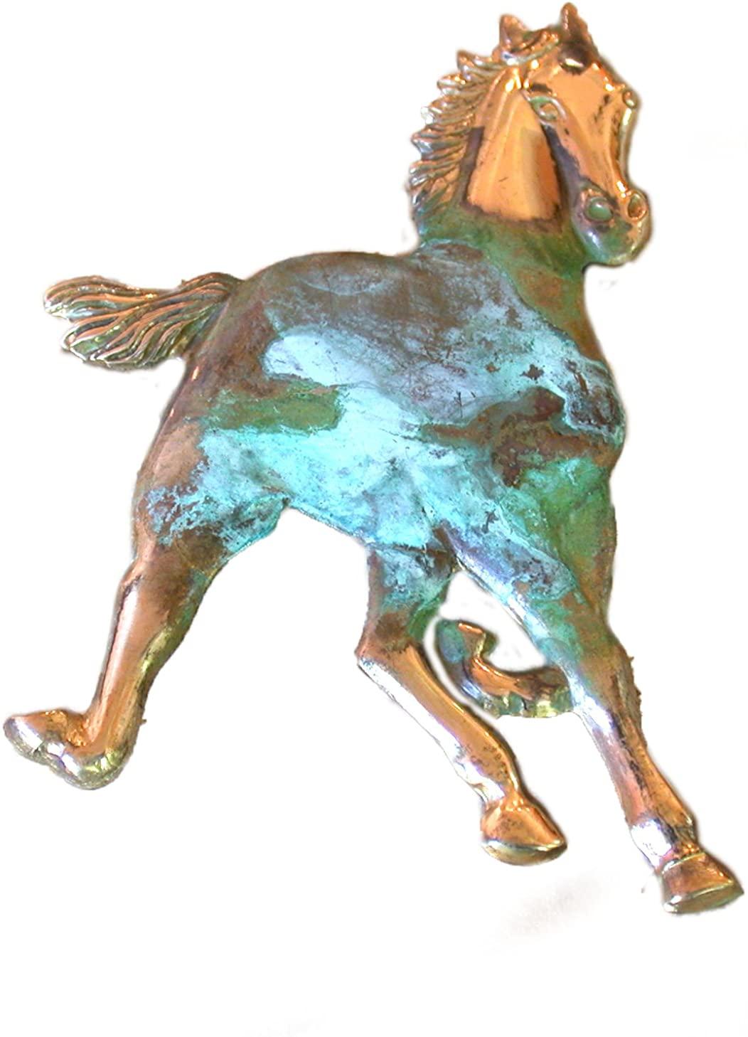 Elaine Coyne Verdigris Patina Brass Large Galloping Horse Pin
