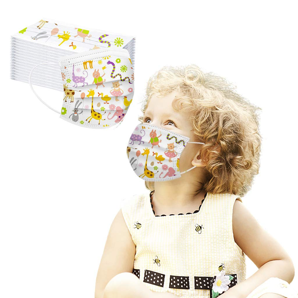 50PCS Children's Face bandanas 3Ply Ear Loop Breathable Cotton Dustproof Flower Animal Printed Fashion Face bandanas Lace Cloth Printed for kids childrens for Outdoor Activities Comfortable (E)