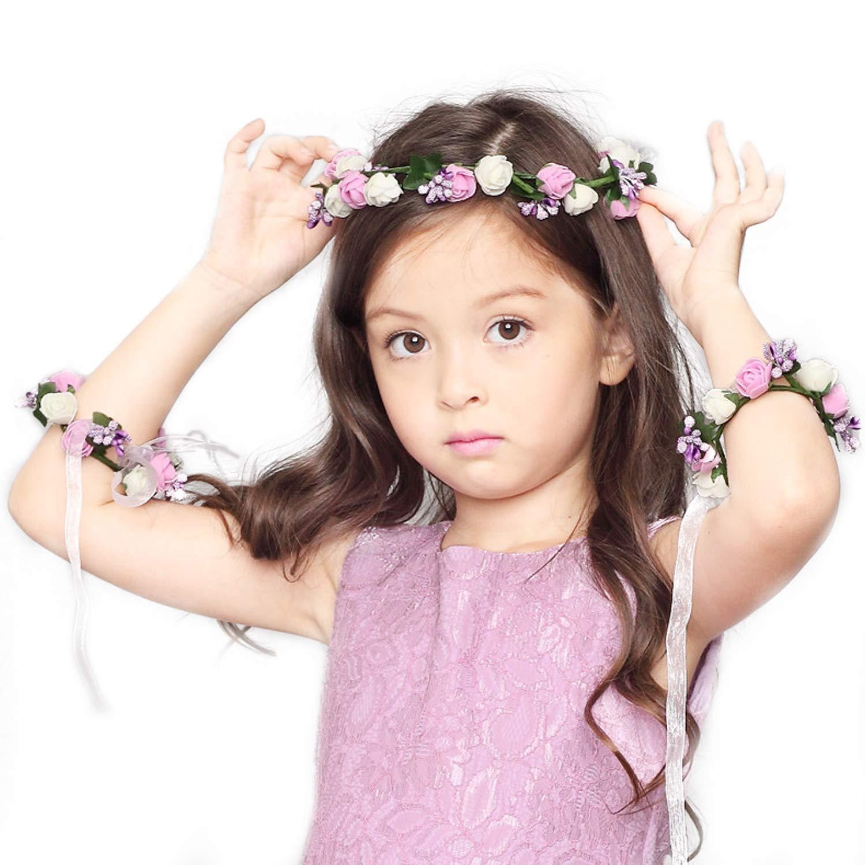 Flower Headband and Floral Wrist Band, Nature Berries Flower Crown Wedding Headband Hair Wreath Wrist Band Set for Girls and Women