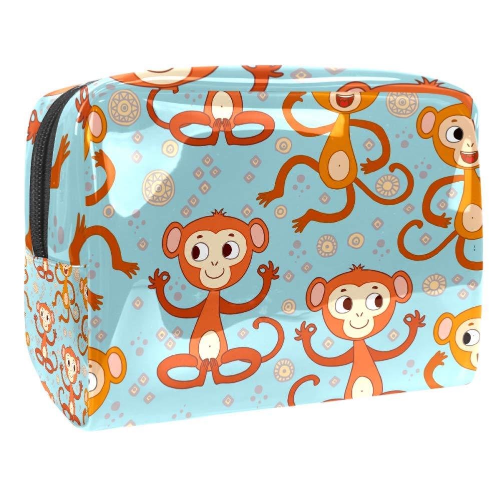 Funny Cartoon Monkeys Makeup Bag PVC Waterproof Cosmetic Pouch Portable Handbag for Makeup Tools Organize
