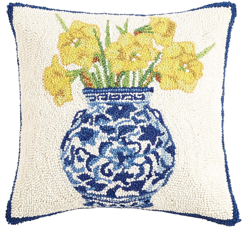 Peking Handicraft 30SER515BC16SQ Chinoiserie Vase Daffodils Hook Pillow, 100% Wool and Cotton