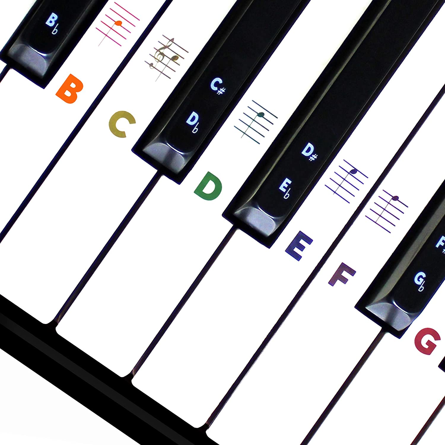 Piano Keyboard Stickers for Beginners 88/76/61/54/49/37 Keys - Removable, Transparent, Double Coating Piano Stickers - Perfect for Kids, Big Letters, Easy to Install with Cleaning Cloth