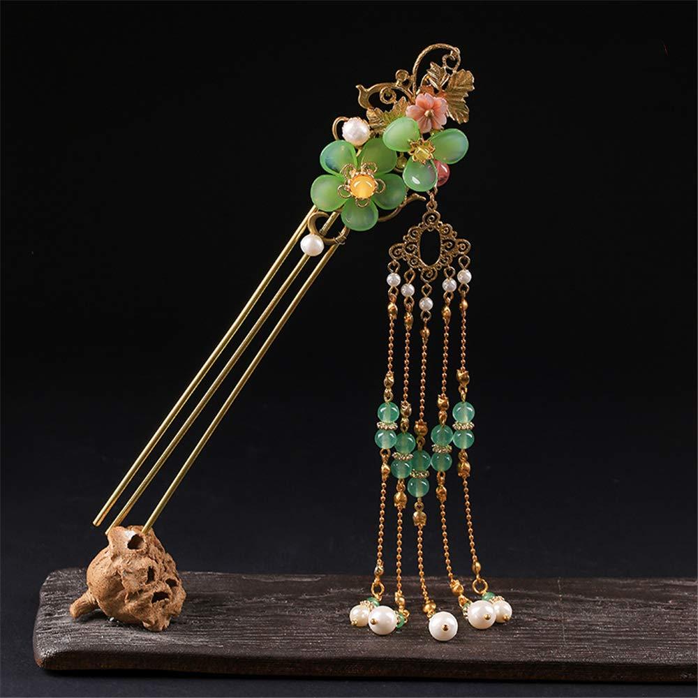 Simple jade Hairpin Hair Stick for Kimono Hanfu Cheongsam Accessories Classical (huajianci (left))