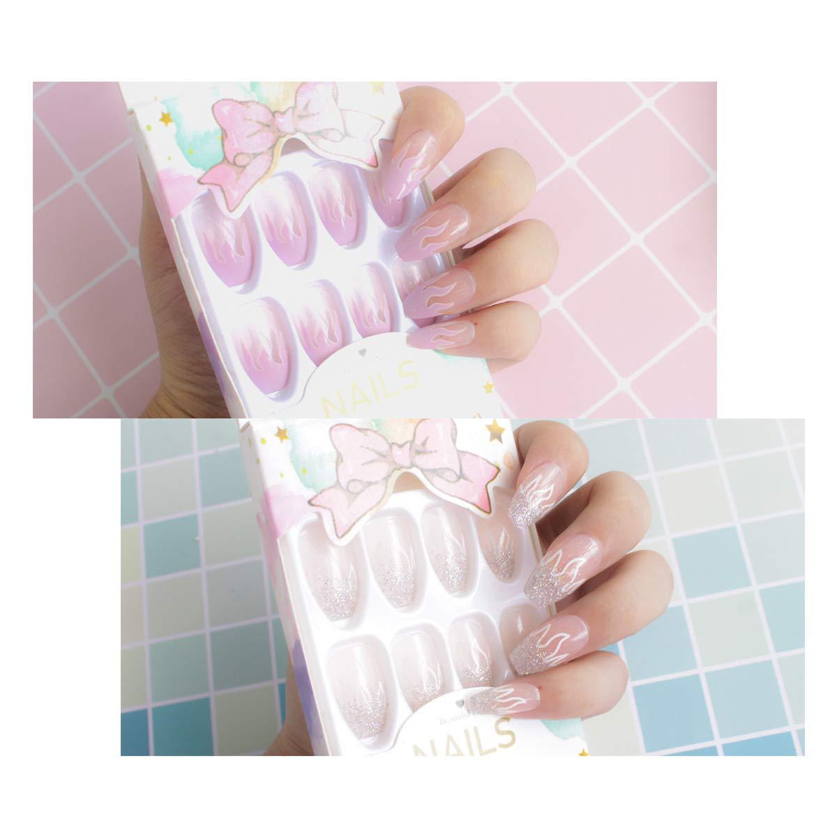 24 Pcs x 2 Colors Flame Transparent Press on Nails - Matte nails, Nail Art Kits Sets, Medium Length False Nails, Acrylic Fake Nails(Pink, Silver)