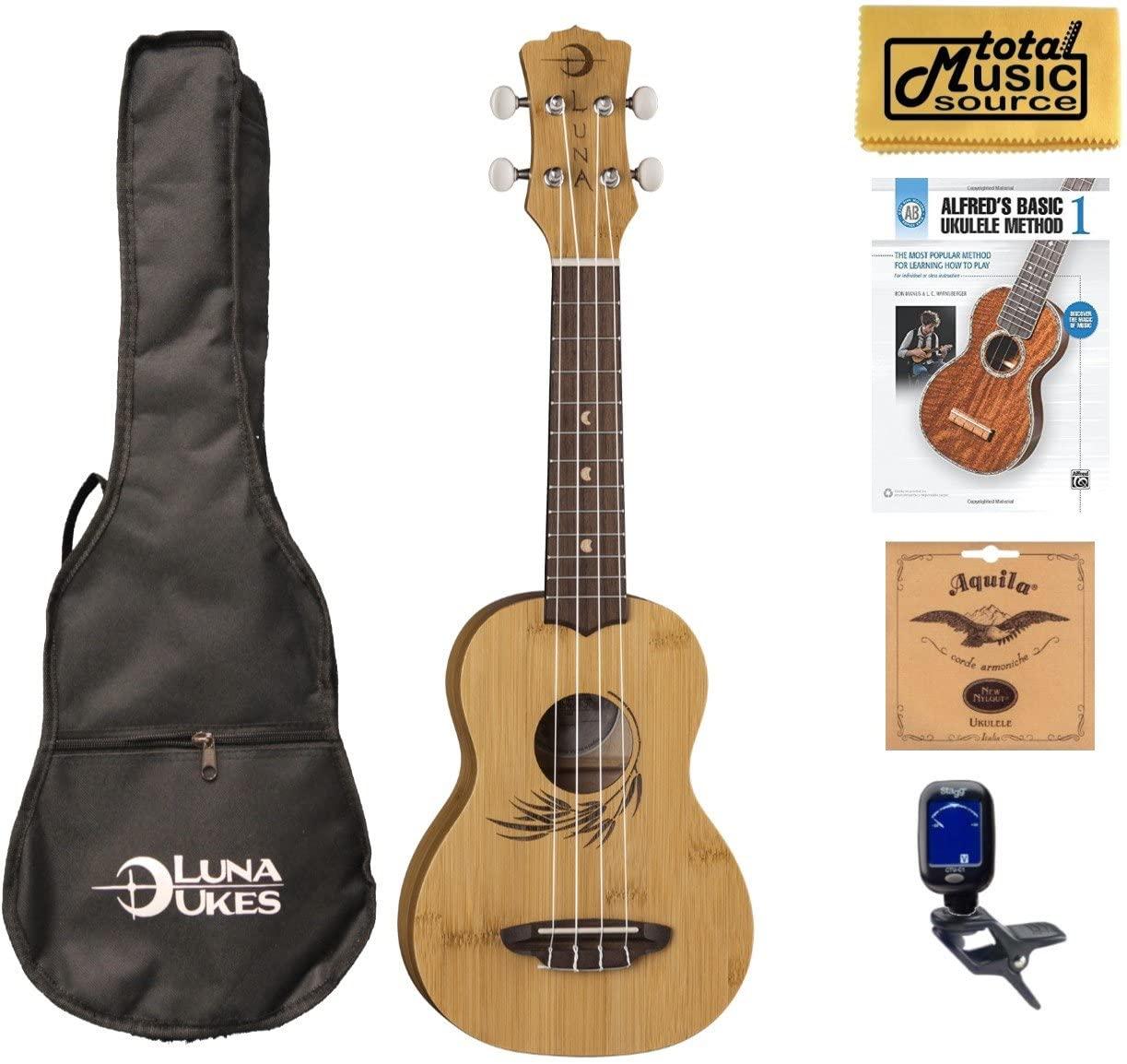 Luna Guitars Bamboo Soprano Ukulele Book Bundle, UKE BAMBOO S