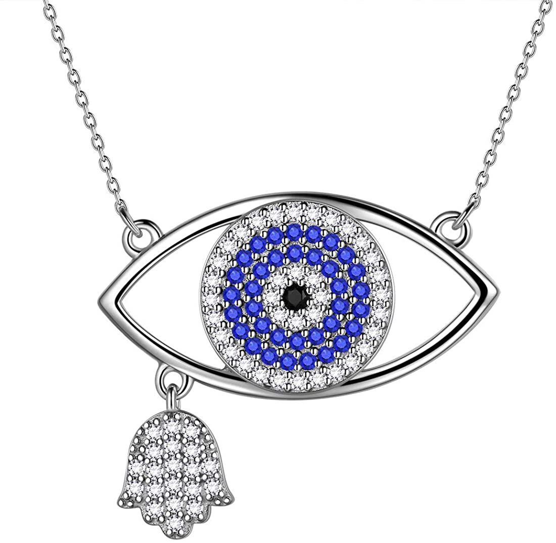 Aurora Tears Hamsa Jewelry Women Hand of Fatima with Evil Eye Pendant/Earring/Rings 925 Sterling Silver Hamsa Hand/David Star Jewelry Crystal Protection Amulet Gift