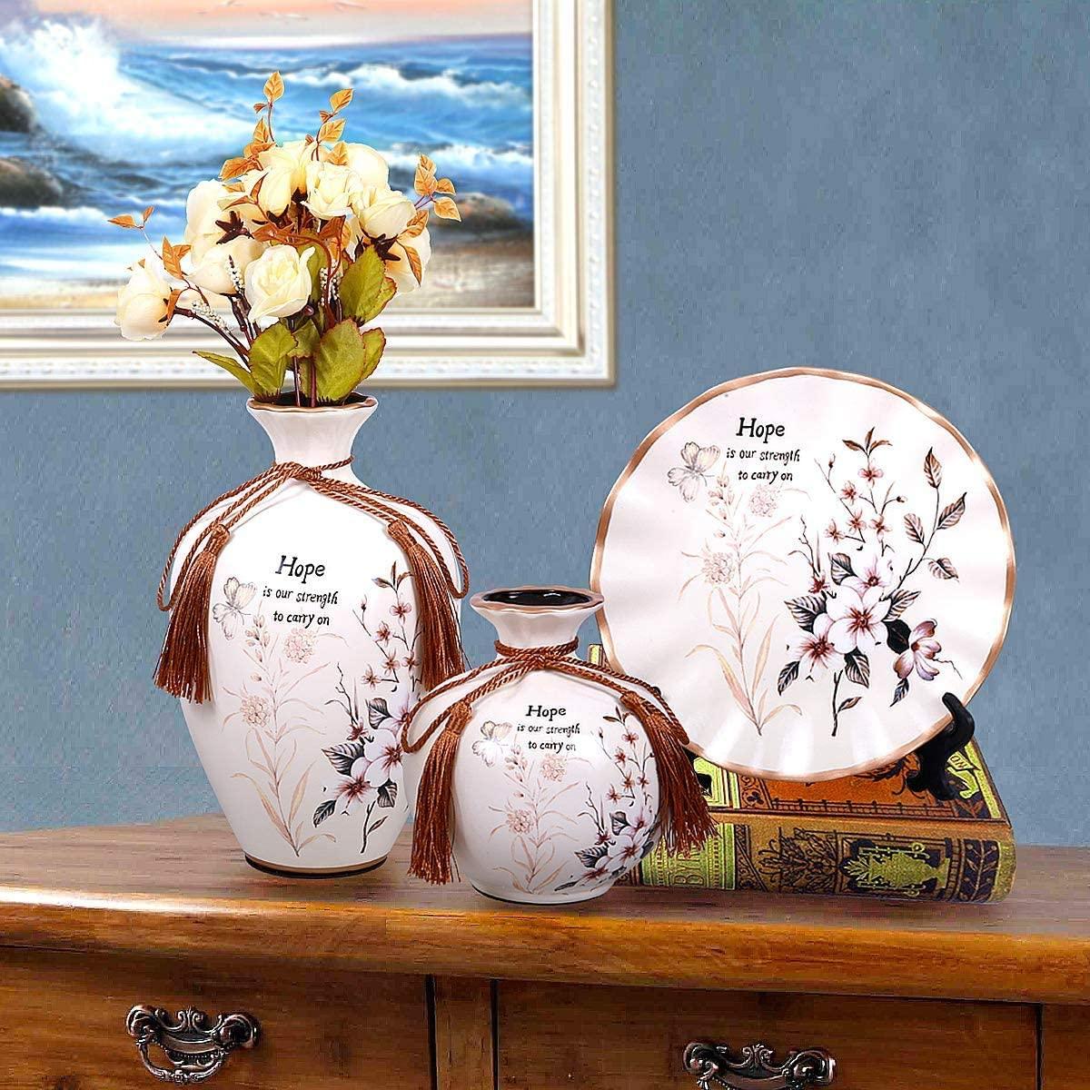 ROSE CREATE Ceramic Flower Vases, China Vase 3 in Set - White Flower Vases