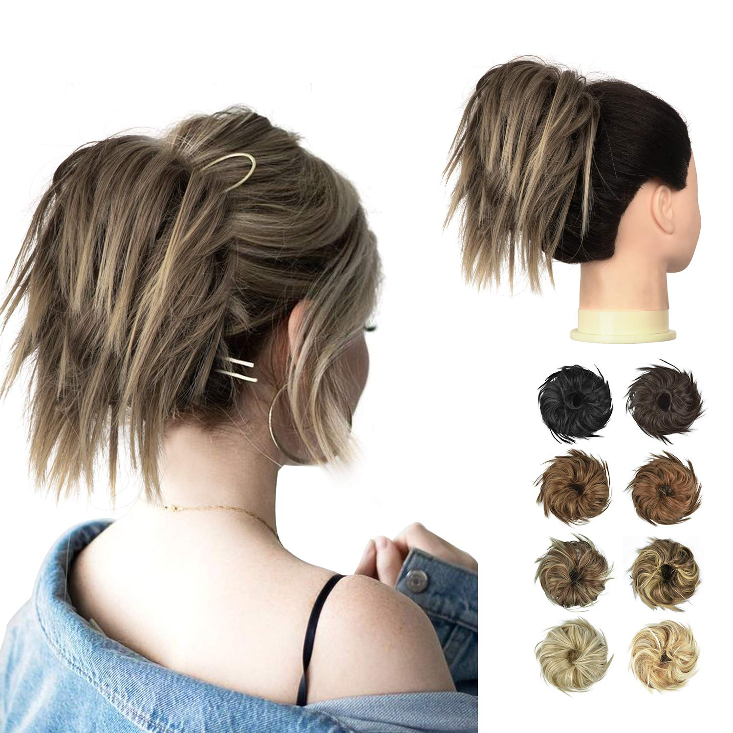 FESHFEN Tousled Updo Messy Hair Bun Hairpiece, Fluffy Hair Bun Extension Curly Messy Bun Hair Piece Synthetic Ponytail Hair Scrunchies with Elastic Rubber For Women Girls