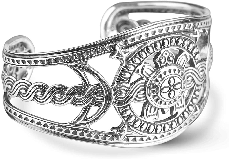 American West Sterling Silver Native Celestial Turtle Shield-Style Cuff Bracelet Size X-Large