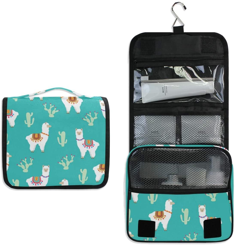 Hanging Travel Toiletry Bag Kit Makeup Case Cosmetics Organizer for Men Women Llama Alpaca And Cactus
