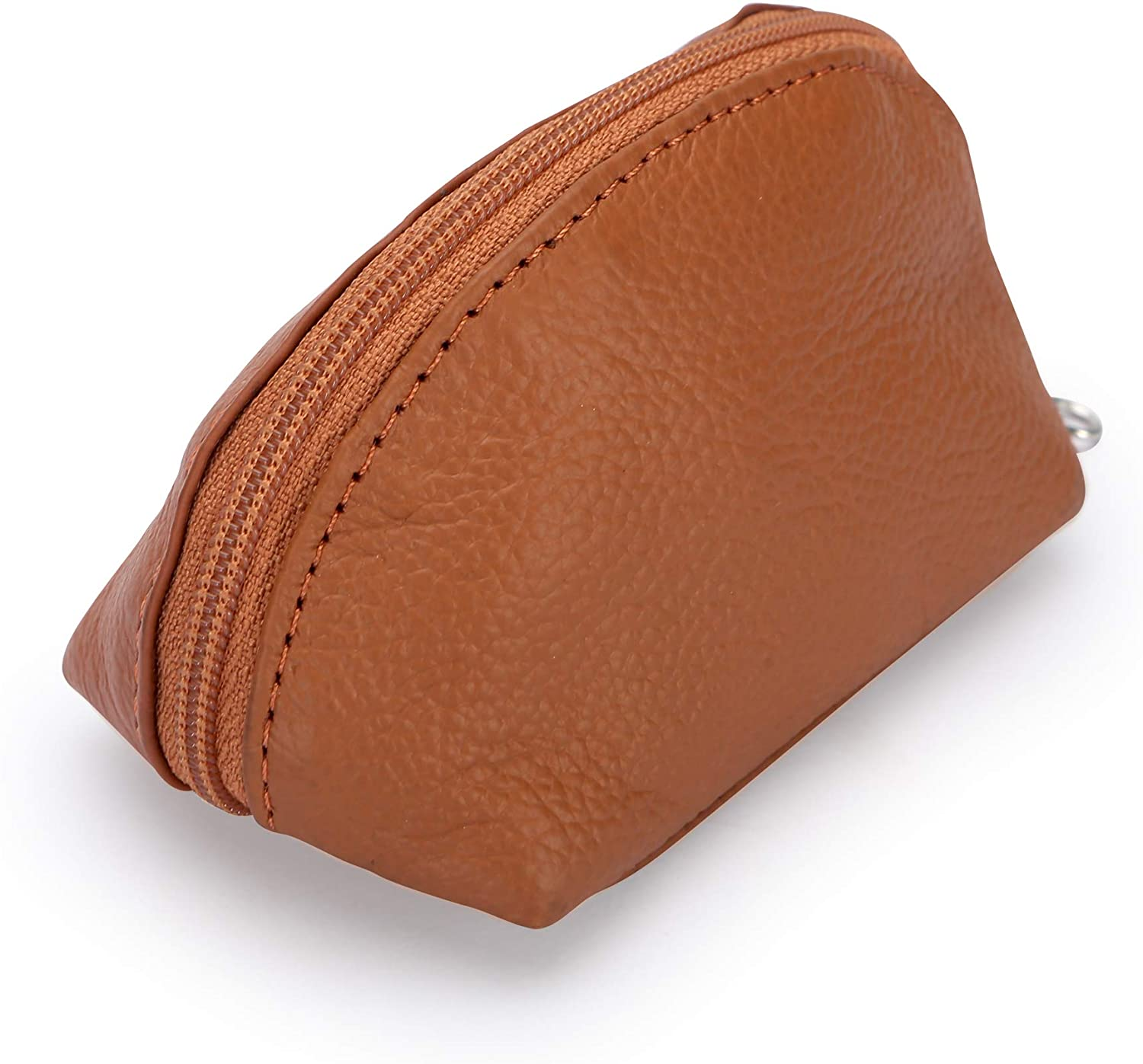 Leather mini coin purse tan color with key chain very soft beautiful finished color Tan Brown