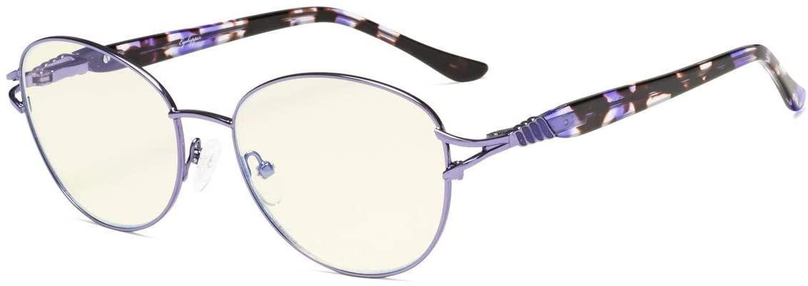 Eyekepper Computer Reading Glasses,Blue Light Filter Readers, Stylish Cateye Round Eyeglasses Women,Purple +1.25