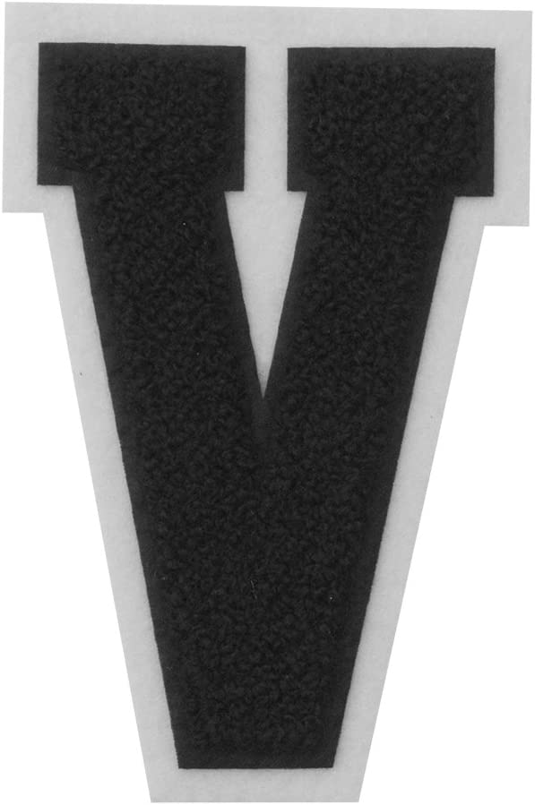 V - Black on White - 4 1/2 Inch Heat Seal/Sew On Chenille Varsity Letter