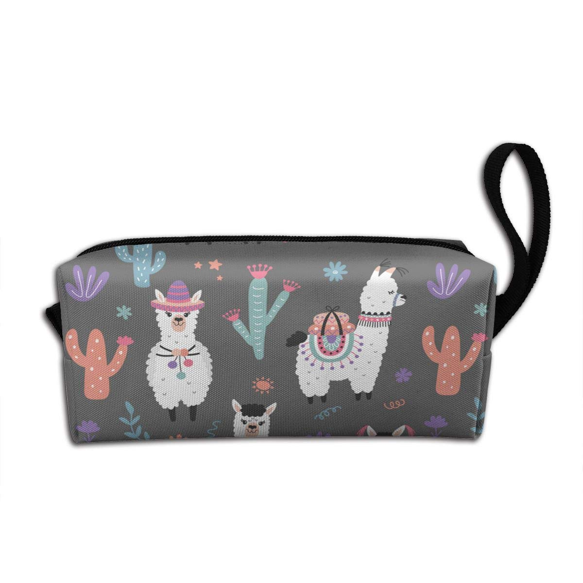 Cartoon Llama Alpaca Seamless Pattern Makeup Bag Adorable Travel Cosmetic Pouch Toiletry Organizer Case Gift for Women