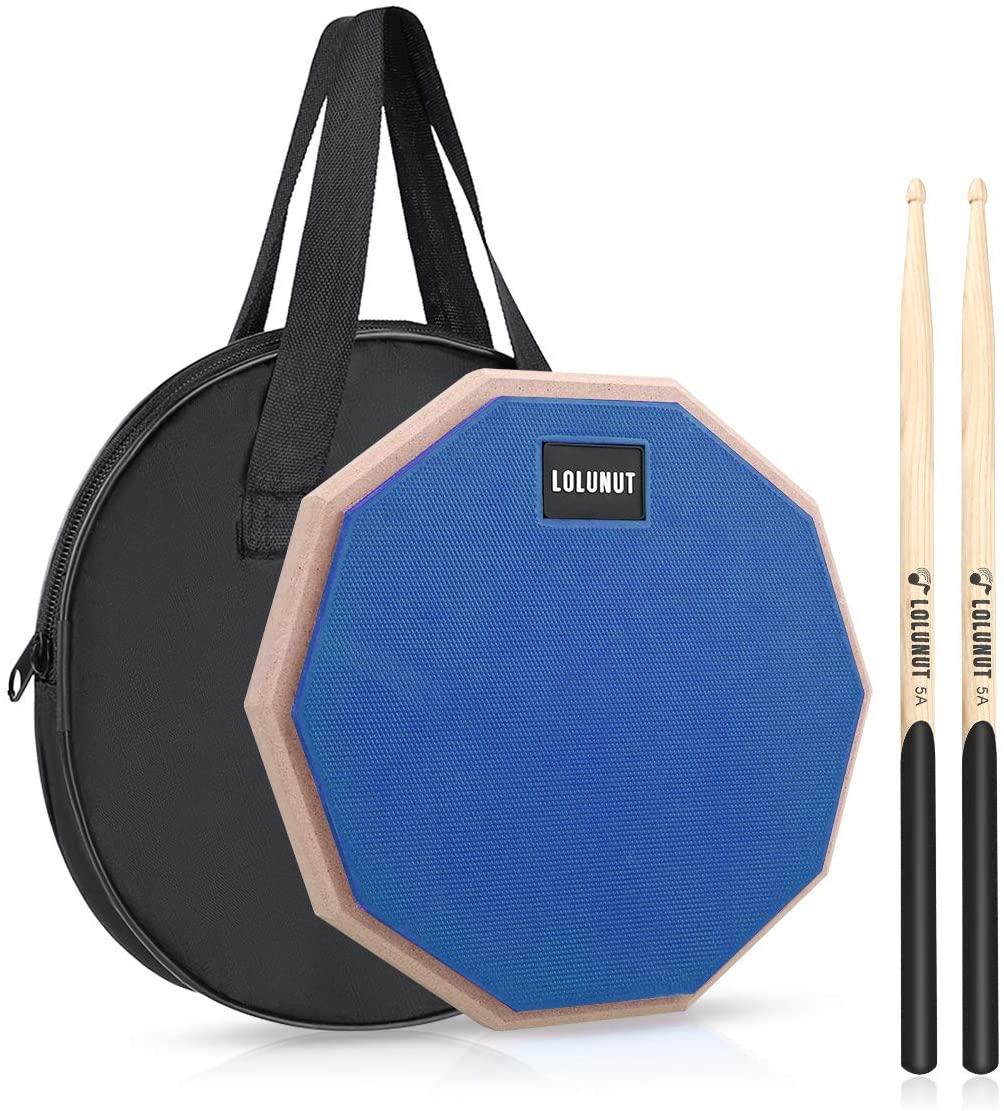 LOLUNUT 12 Inch Silent Drum Pad, Dumb Drum Beginner Rubber Practice Pad, with 5A Drum Sticks &Storage Bag (Blue)