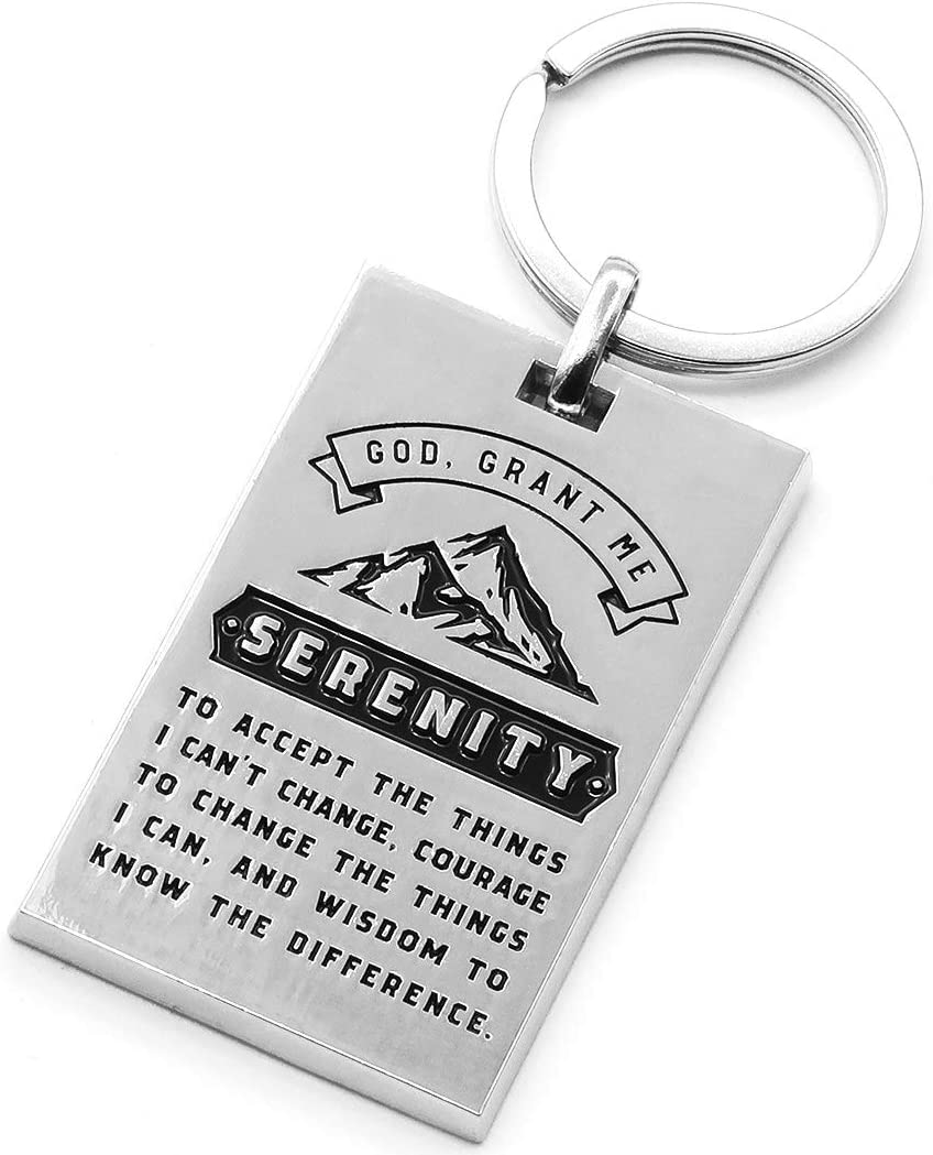 Serenity Prayer Mountain Keychain with Prayer for Serenity, Wisdom, Courage - Inspirational Faith Sobriety Recovery Gift for Men Women (Silver Tone)
