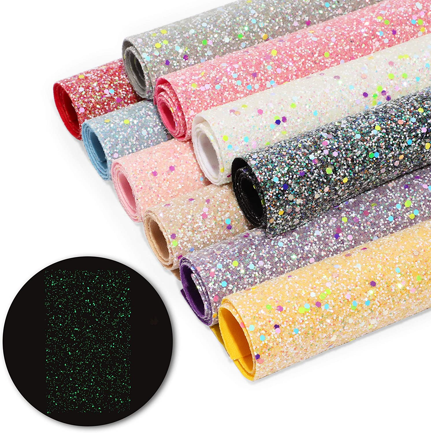Faux Leather Sheets, Glow in The Dark, Chunky Glitter (7.8 x 13.4 in, 10 Pack)
