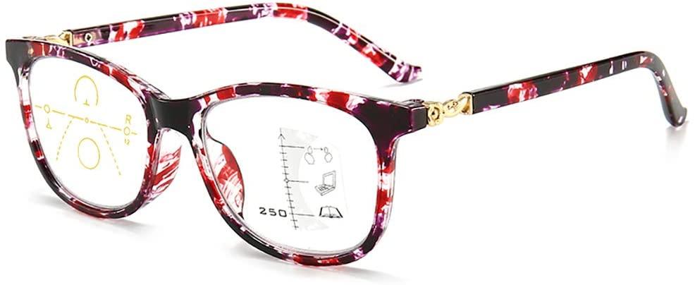 MWAH Progressive Reading Glasses Women Multifocal Blue Light Blocking 2.0 x Red