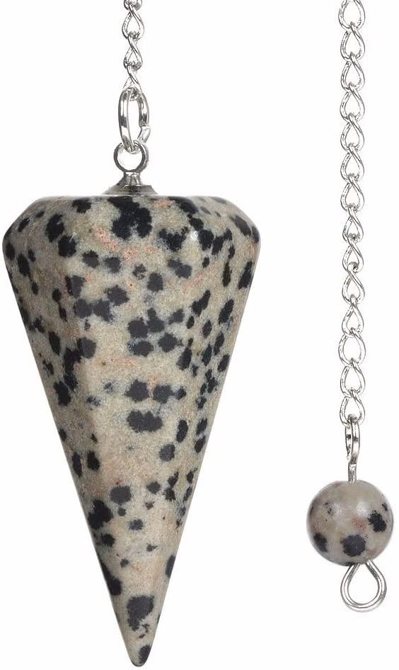 Natural Dalmatian Jasper Gemstone Rock Crystal Hexagonal Pointed Reiki Chakra Pendant Pendulum