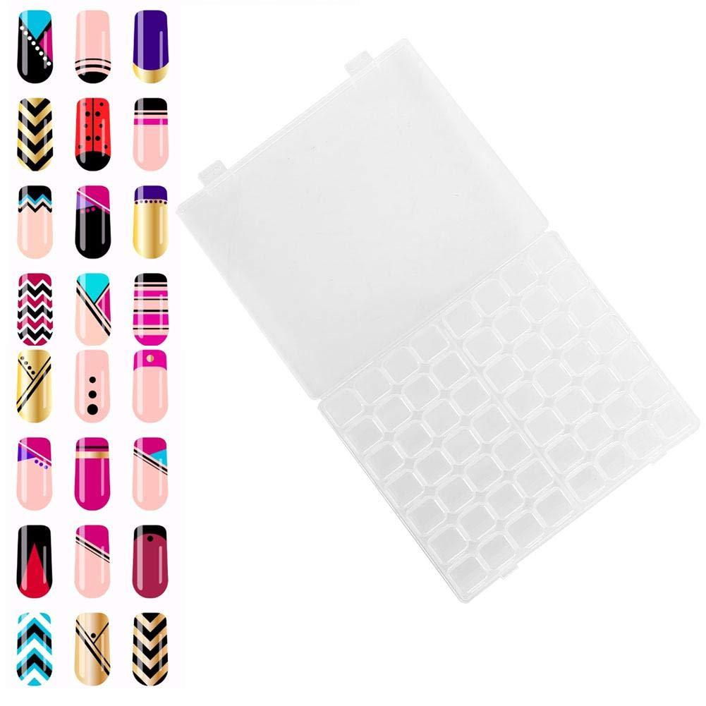 Nail Art Container, 56 Slots Plastic Organizer Box Desktop Nail Polish Art Storage Case for Sewing Nail Diamonds Painting Accessories Organizer Box