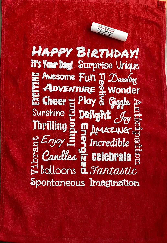 Urban ReLeaf Happy Birthday Towel & Lip Balm Gift Set, Red Greeting Card, Celebration Present, Loving Fun Positive Caring Surprise Message