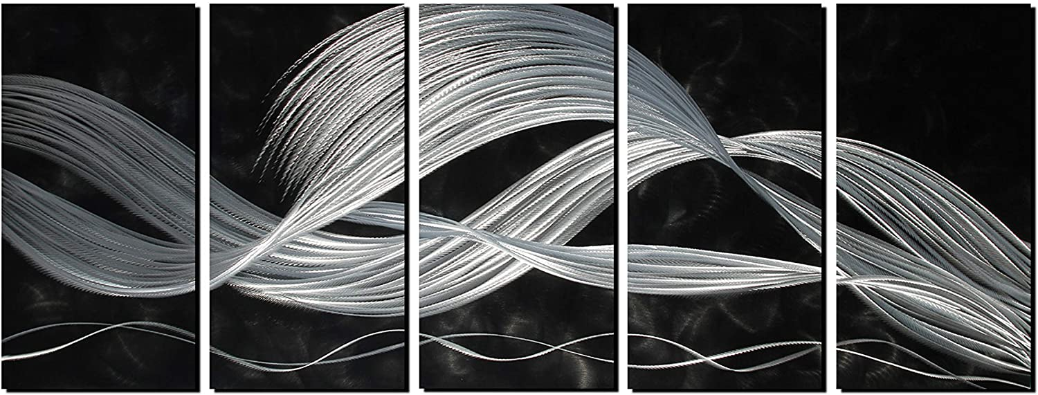 Handcrafted Abstract Metal Wall Art with Large Scale Decor in White Line Black Background Design, 3D Artwork for Indoor Outdoor Wall Decorations, 5-Panels Metal Art Measure 24