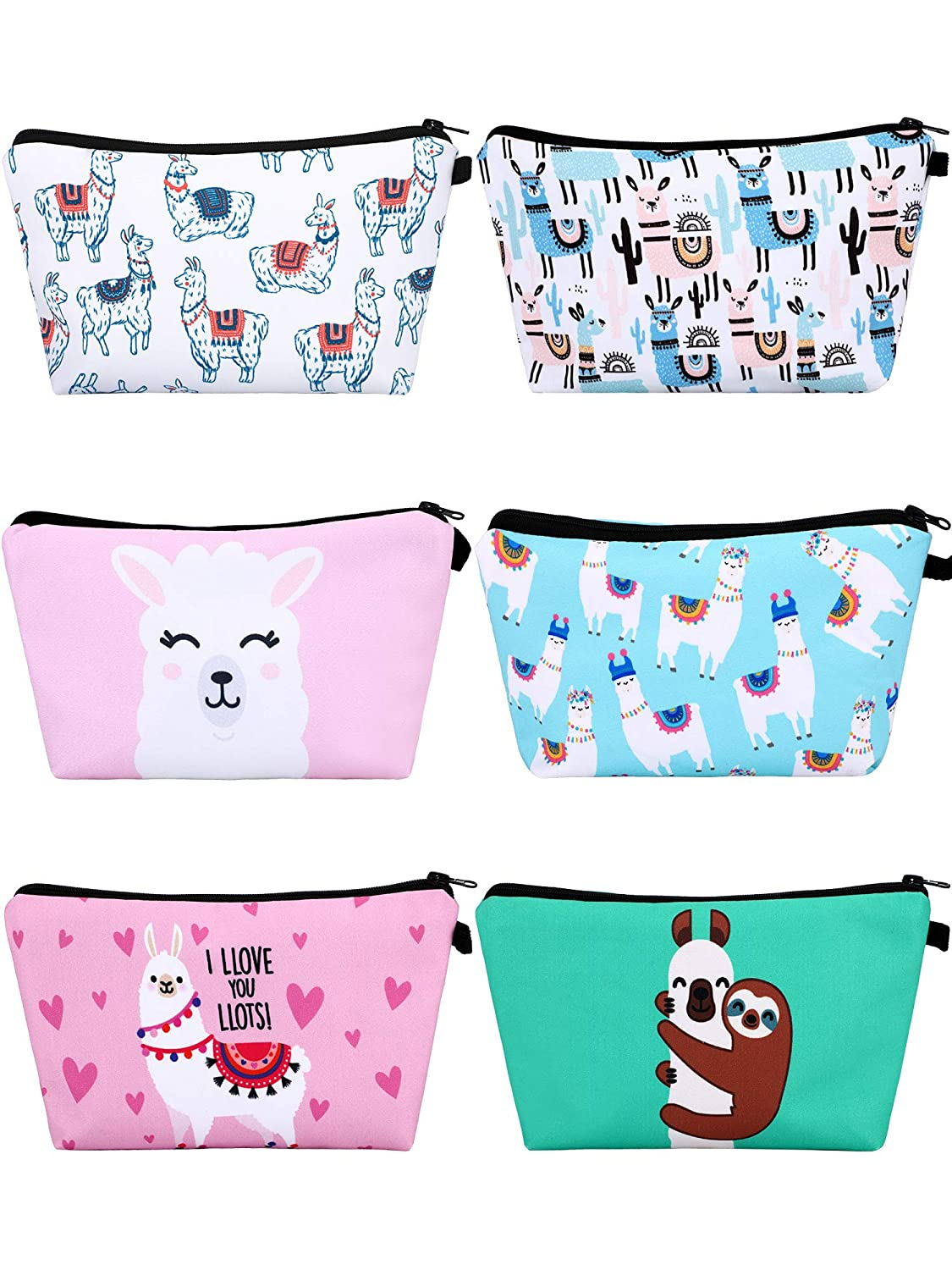 6 Pieces Makeup Bags Llama Makeup Pouch Alpaca Pattern Cosmetic Bags Cartoon Letters Printed Toiletry Travelling Bags for Valentine's Day (Cartoon Design)